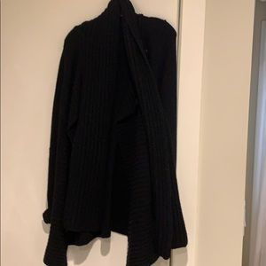 Theory thick knot black cardigan with scarf neck